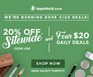 Advertisement for Pre 4:20 Deals at VapeWorld. Offer 1 is to get 20% off site wide with code: 420. Offer 2 is to pick 4 items for a total of $20 (accessories, parts, atomizers). Both offers expire on April 20, 2017 at midnight. Restrictions apply.