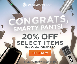 Advertisement for Graduation Sale. Get 20% off at VapeWorld with code: GRADS20 - Expires June 30, 2017 at 11:59PM Pacific Time. Restrictions apply.