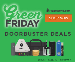 Advertisement for Green Friday Sale. Get 20% off all Storz and Bickel products with code: SB20. Get $50 off Hydrology9 with code: HYDRO50. Free gifts with purchase of Firefly 2, Volcano, Davinci IQ, PAX 3 and LEVO Oil Infuser. Expires November 25, 2017.