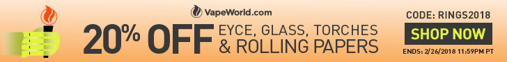 Advertisement for Winter Olympics Sale. 20% OFF rolling papers, glass, EYCE products and torches with coupon code: RINGS2018. Expires February 26, 2018 at 11:59PM PT