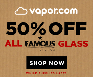 Advertisement and link for 50% off all Famous Brands glass. No coupon code required. No expiration date – available while supplies last!