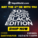 Advertisement and link for 30% off the Dr. Dabber Boost Black Edition with coupon code: DARTHVAPOR. Expires May 4, 2018 at 11:59PM PT.