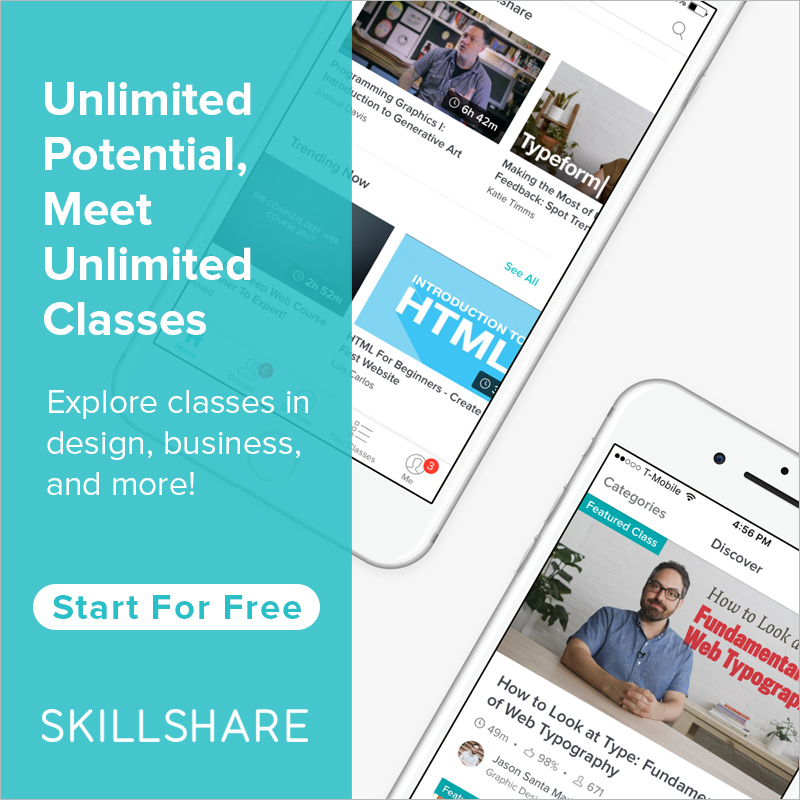Skillshare banner showing that there are unlimited classes on this platform. Features an image of an iPhone with the Skillshare app open.