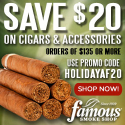 Take $20 off $135+ in Cigars and Accessories for the Holidays!