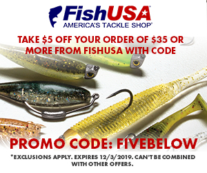 Take $5 Off Your Order of $35 or More from FishUSA with Code: FIVEBELOW