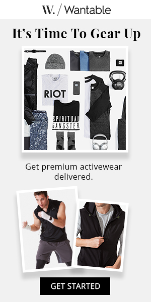 Wantable Men's Fitness Edit Subscription - Curated fitness apparel delivered to your doorstep. Receive 5-7 handpicked technical or laid-back items to try before you buy. Featuring the latest styles and performance features from brands like Rhone and MPG Sport. Item prices are based on your personal preferences but usually range from $40-$70 each.