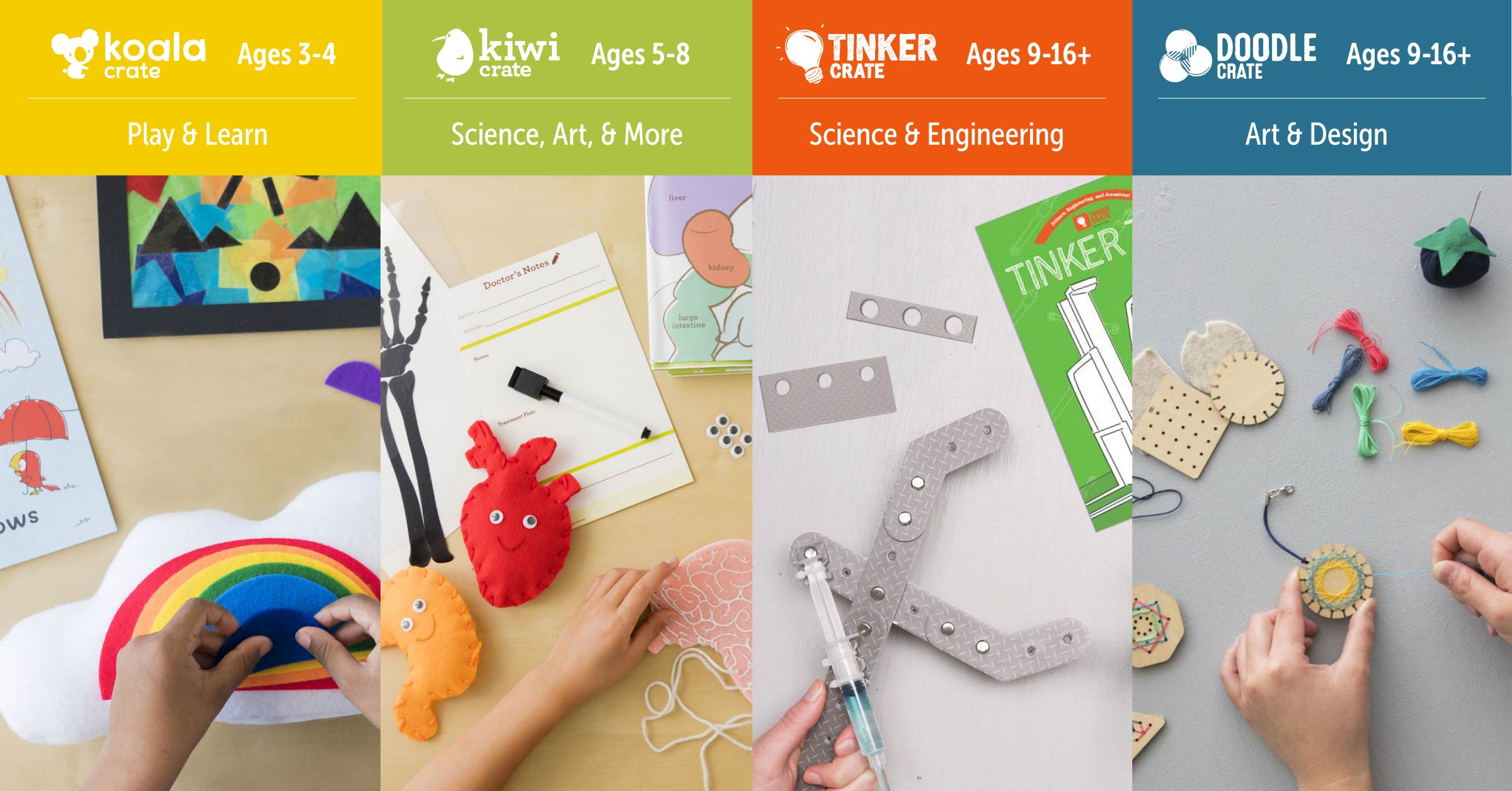 Kiwi Crate activity subscription boxes for ages 3 and up
