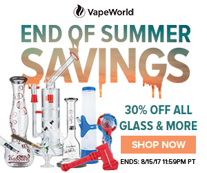 Advertisement for End Of Summer Sale. Sale 1 is 30% off all glass. Sale 2 is buy the Eyce 2.0 Water Pipe, get FREE Eyce Spoon and Eyce Bubbler. Expires August 15, 2017 11:59 PT.