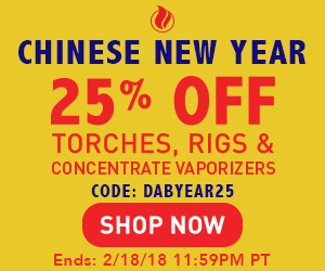 Advertisement for Chinese New Year Sale. 25% OFF Torches, Rigs & Concentrate Vaporizers with code: DABYEAR25 - Expires February 18, 2018 at 11:59PM PT.
