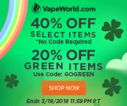 Advertisement and link for St. Patrick's Day Sale. Get 40% off select products, no code required. Get 20% off green products with code: GOGREEN. Free Yocan Revolve with orders over $150. Expires March 19, 2018 at 11:59PM Pacific Time.