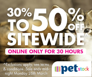 PETstock - 30%-50% Off Sitewide Banner - 300x250