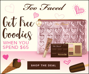 Spend $65 on toofaced.com and get a FREE makeup bag, a mini chocolate eye shadow & bronzer palette, plus a deluxe Melted Lipstick.  exp 6-22