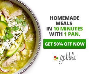 Gobble coupon 50% off meal delivery service