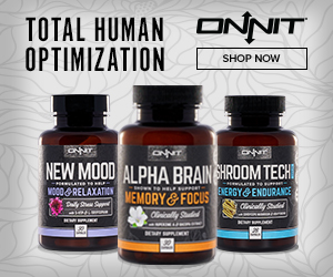 Image of Onnit Supplements, Alpha Brain, New Mood and Shroom Tech, with a Shop Now button