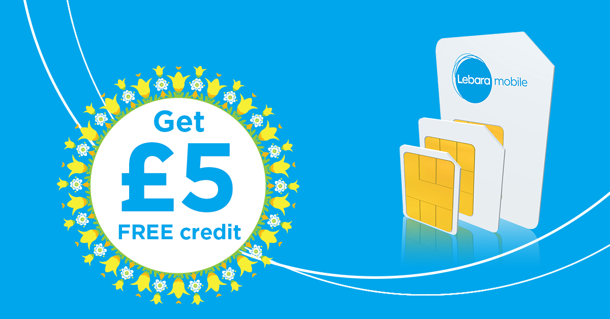 Order a FREE SIM today, and get £5 FREE credit on your first top up or plan of £10 or more