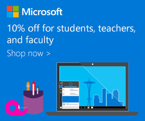 10% off for students, teachers, and faculty