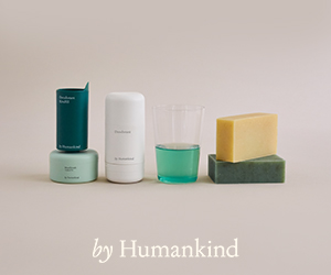 A review of these plastic-free toiletries from by Humankind: shampoo bars and refillable deodorant, shown here.